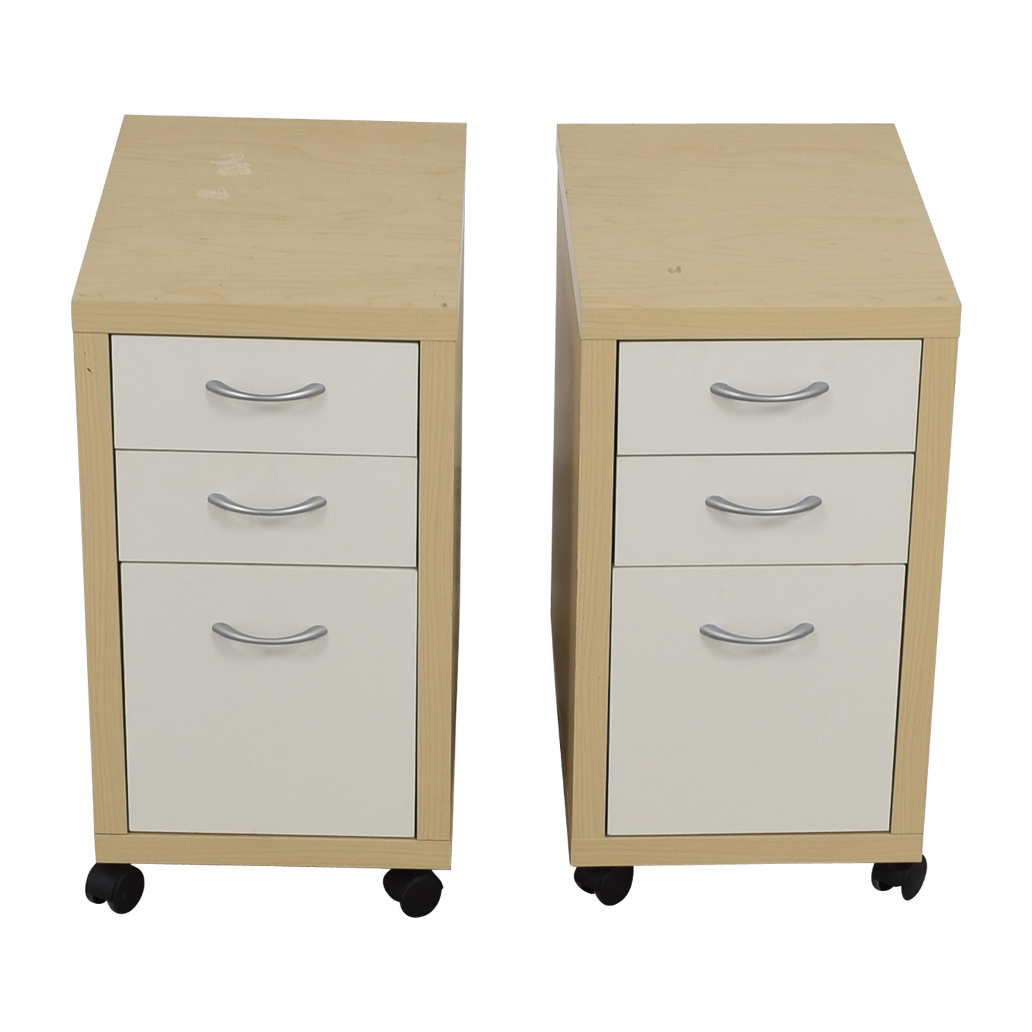 shop Natural and White Three-Drawer Filing Cabinets Filing & Bins