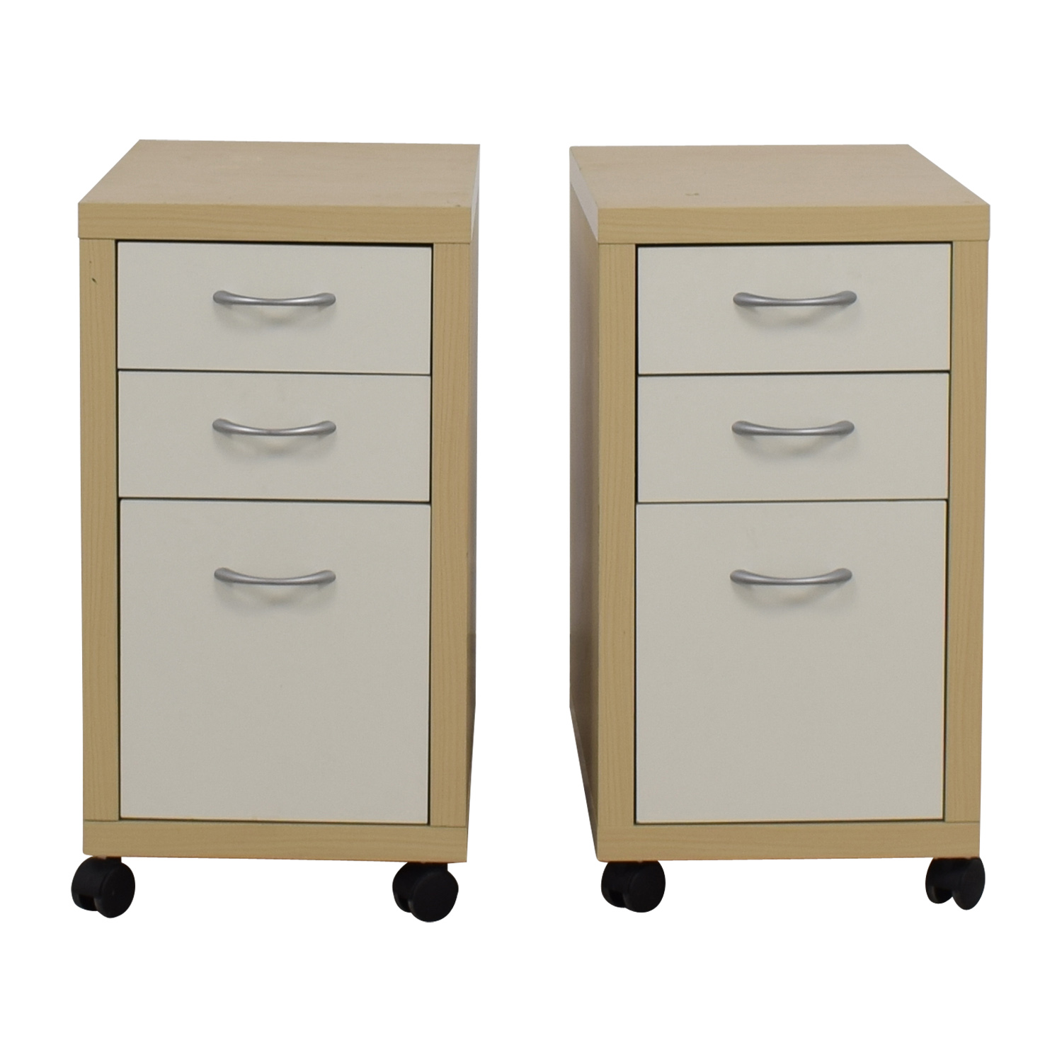Natural and White Three-Drawer Filing Cabinets / Filing & Bins