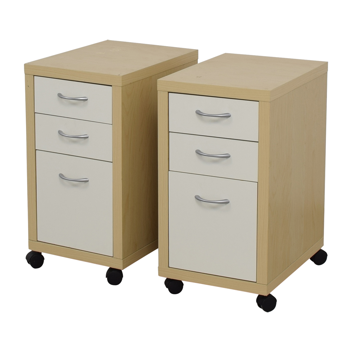 Natural and White Three-Drawer Filing Cabinets price