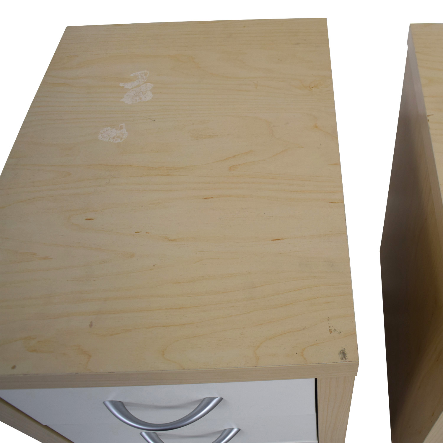 Natural and White Three-Drawer Filing Cabinets on sale