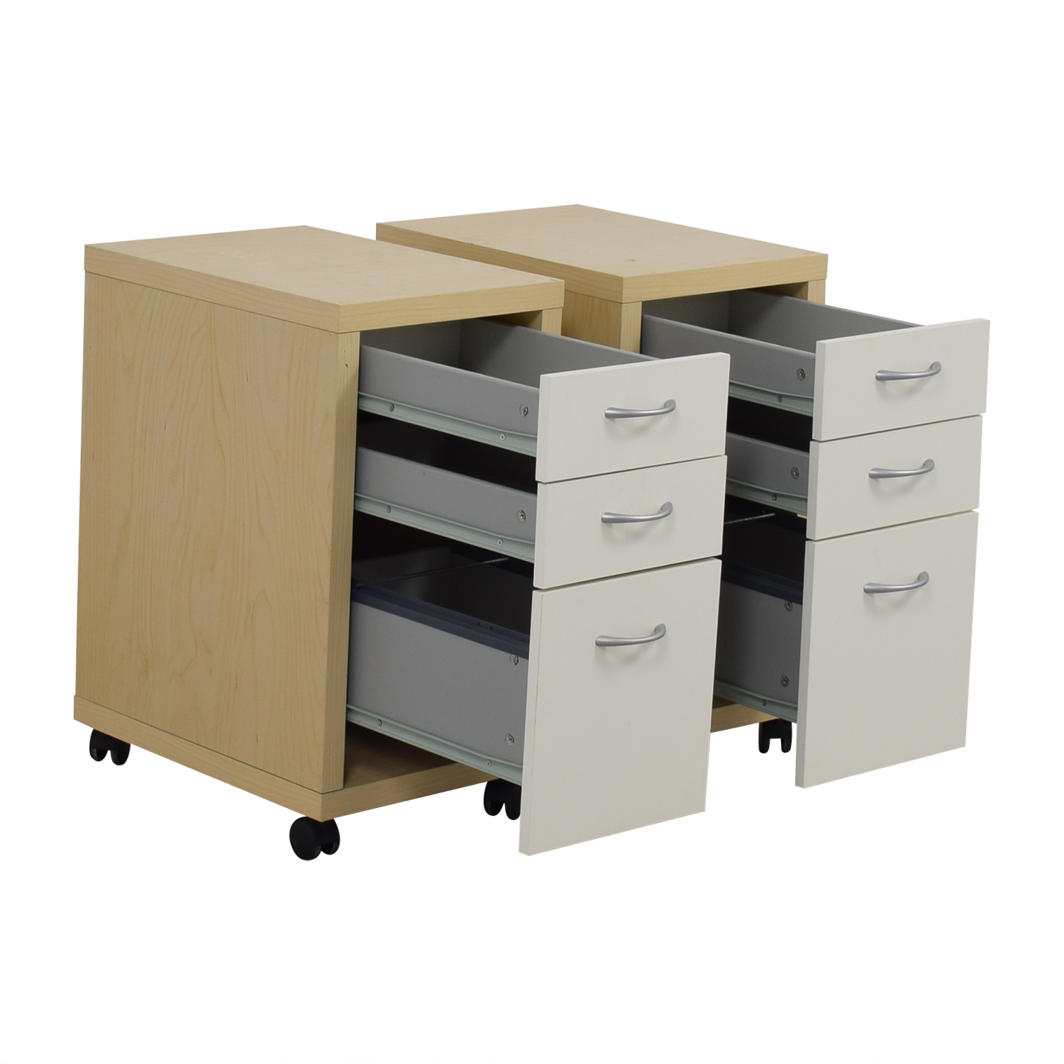 shop Natural and White Three-Drawer Filing Cabinets