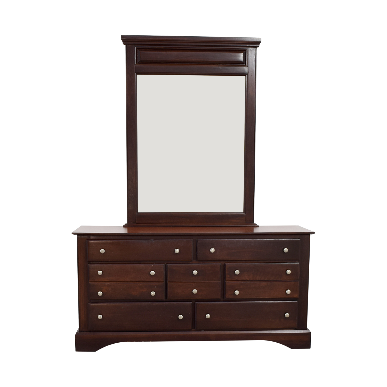 Seven-Drawer Wood Dresser with Mirror discount
