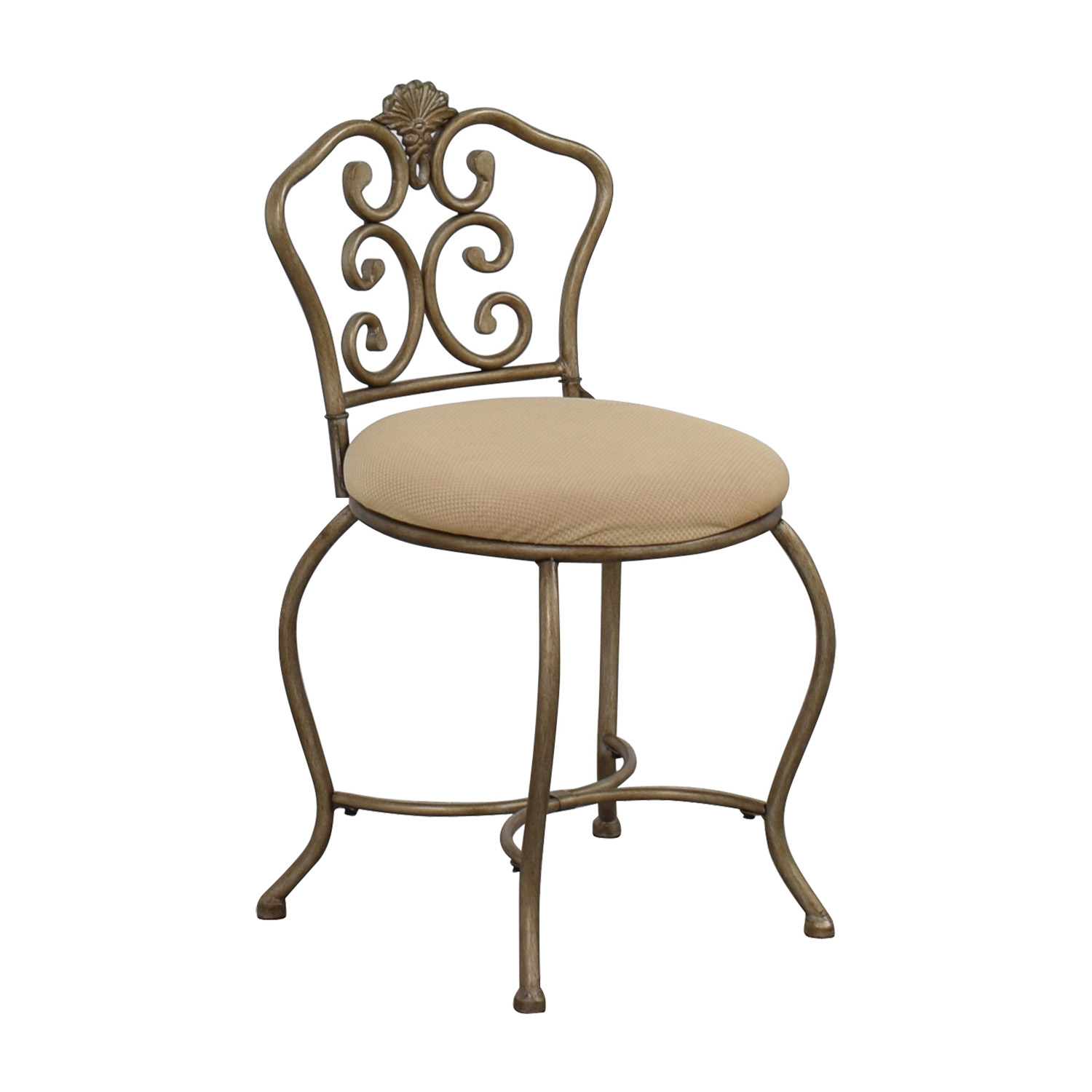 Tan Seat with Silver Frame Chair Accent Chairs