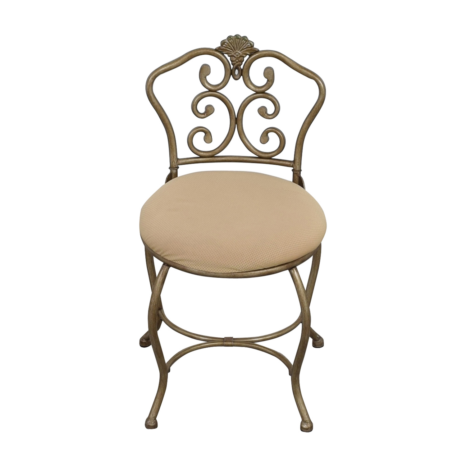 buy Tan Seat with Silver Frame Chair