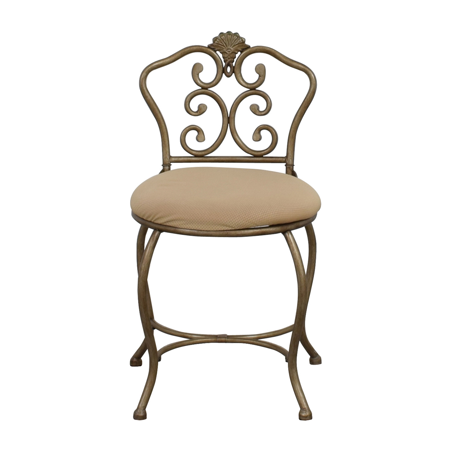 Tan Seat with Silver Frame Chair