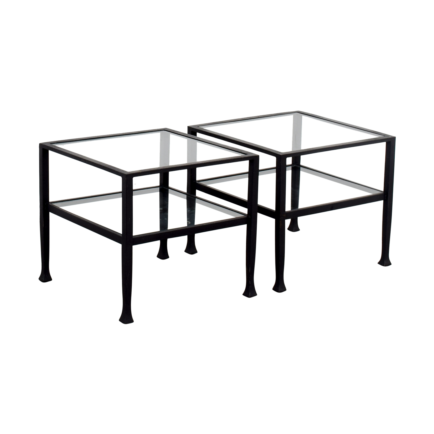 Pottery Barn Pottery Barn Glass and Black Frame Side Tables price