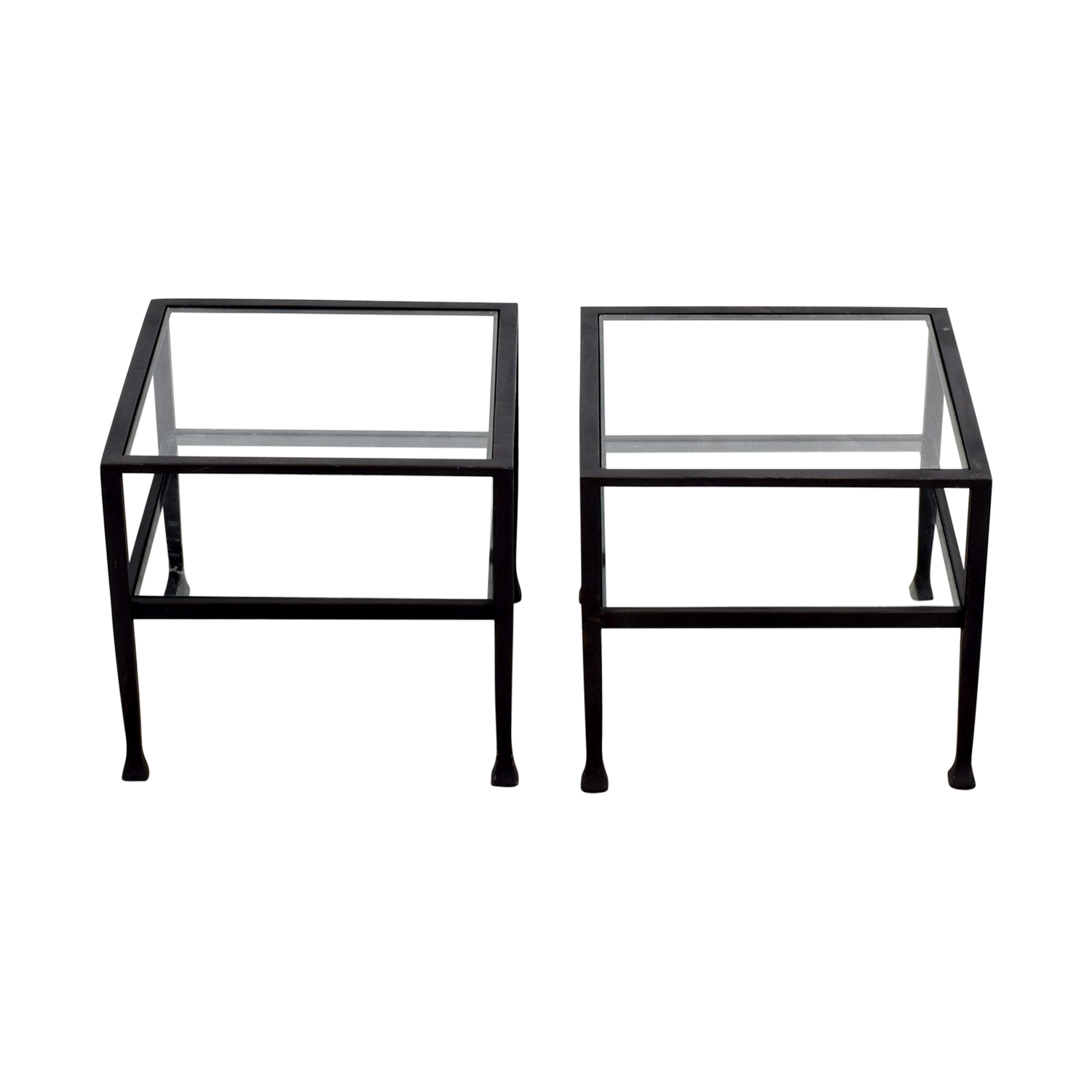 Pottery Barn Glass and Black Frame Side Tables Pottery Barn