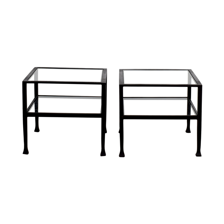 Pottery Barn Glass and Black Frame Side Tables sale