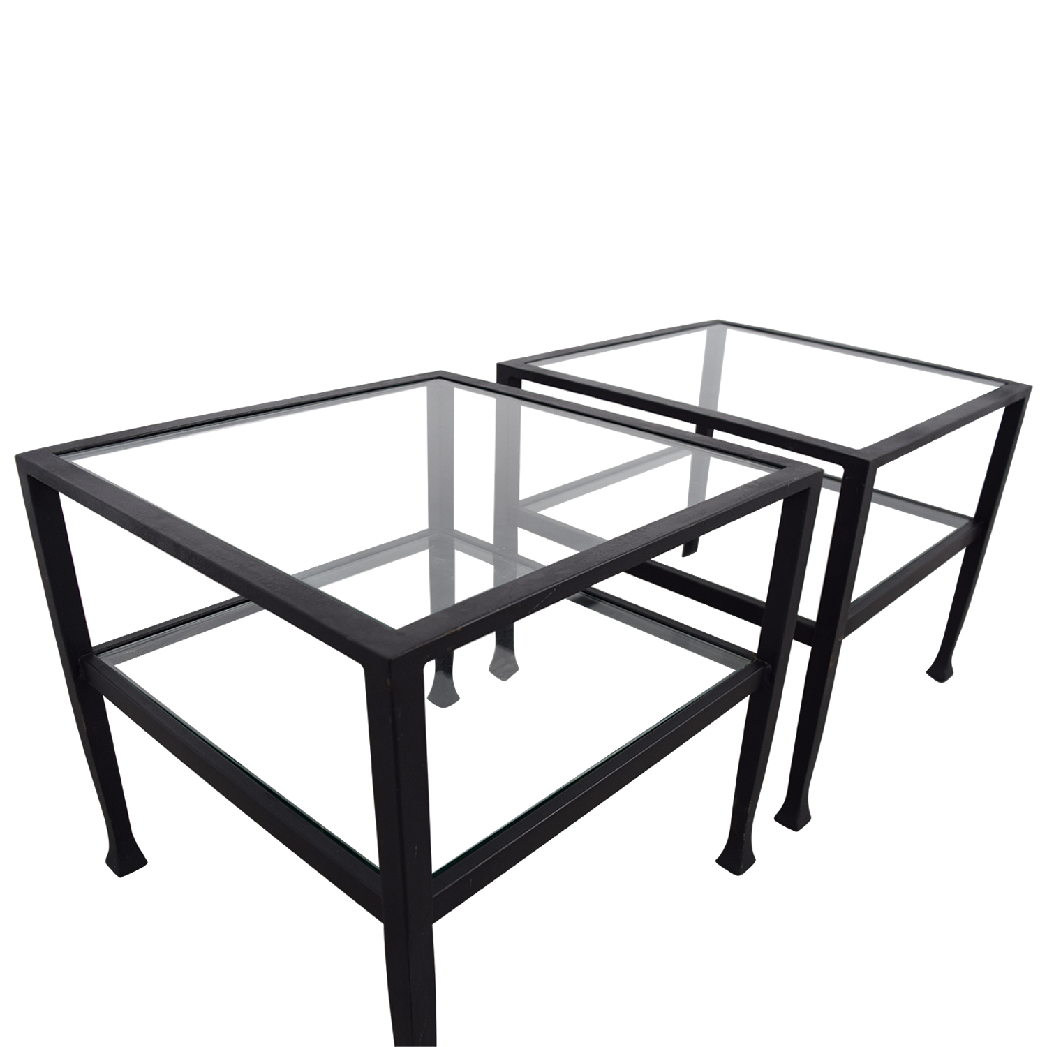 Pottery Barn Pottery Barn Glass and Black Frame Side Tables dimensions