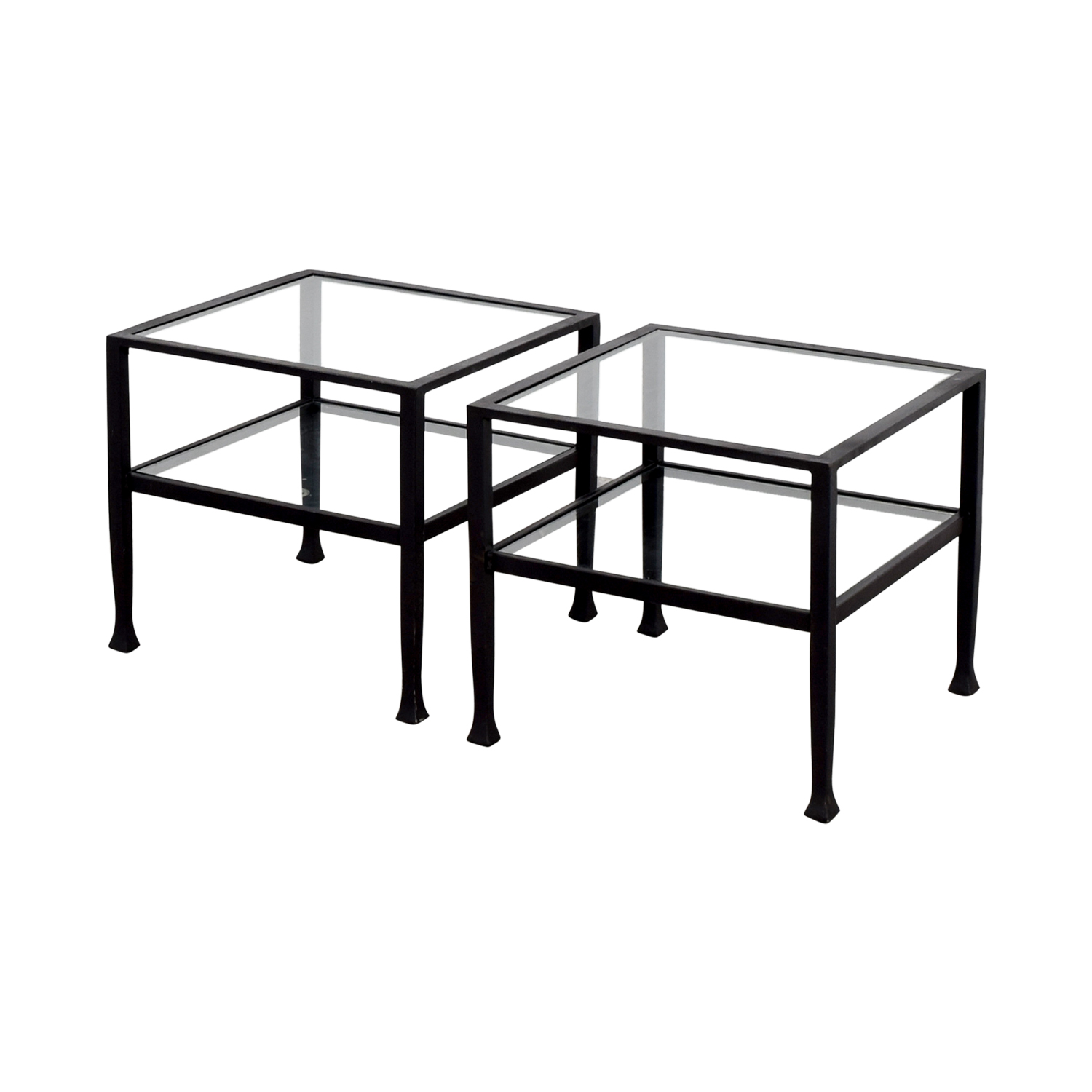 shop Pottery Barn Pottery Barn Glass and Black Frame Side Tables online