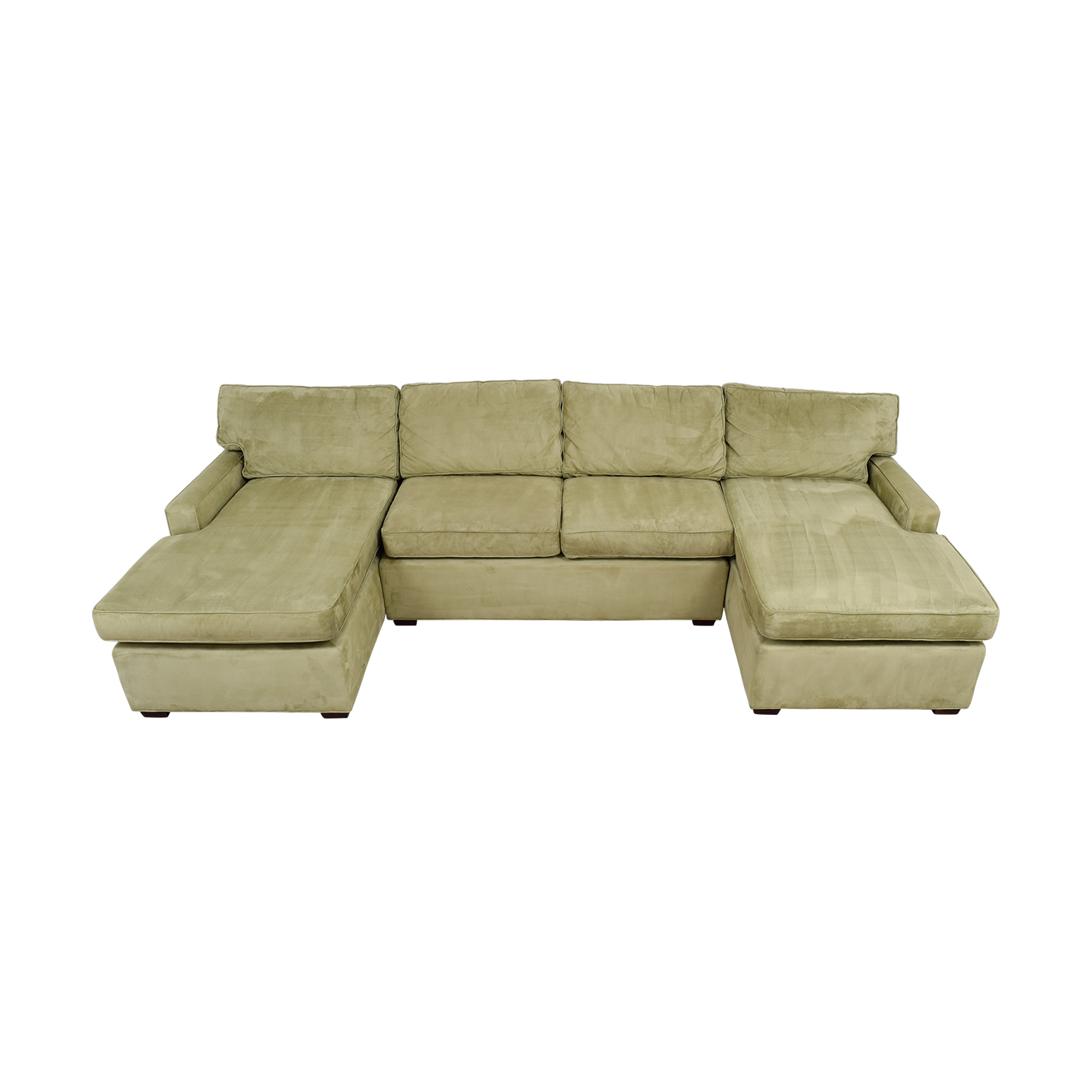 Pottery Barn Double Chaise Light Green Sectional / Sofas