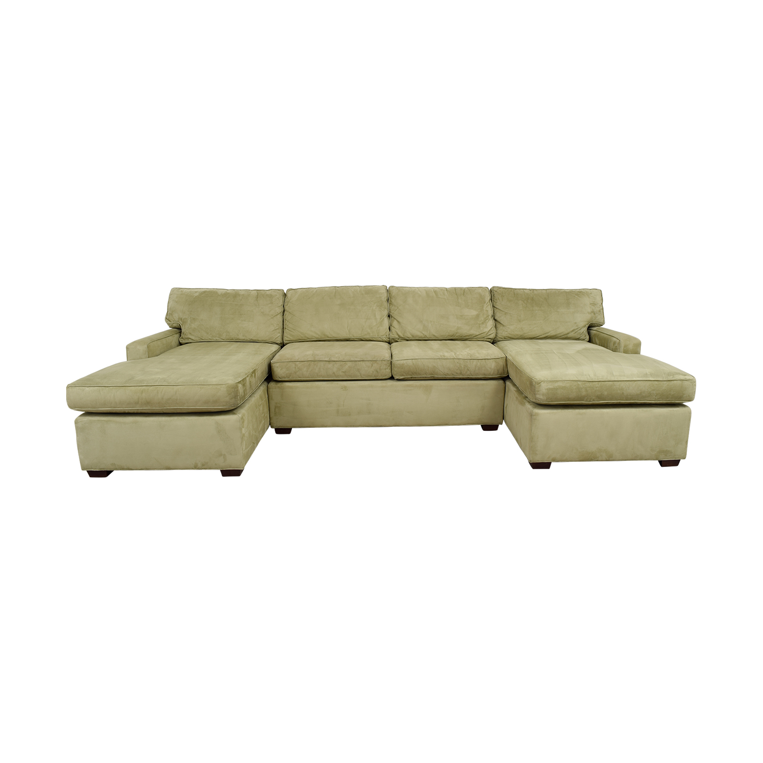 shop Pottery Barn Double Chaise Light Green Sectional Pottery Barn