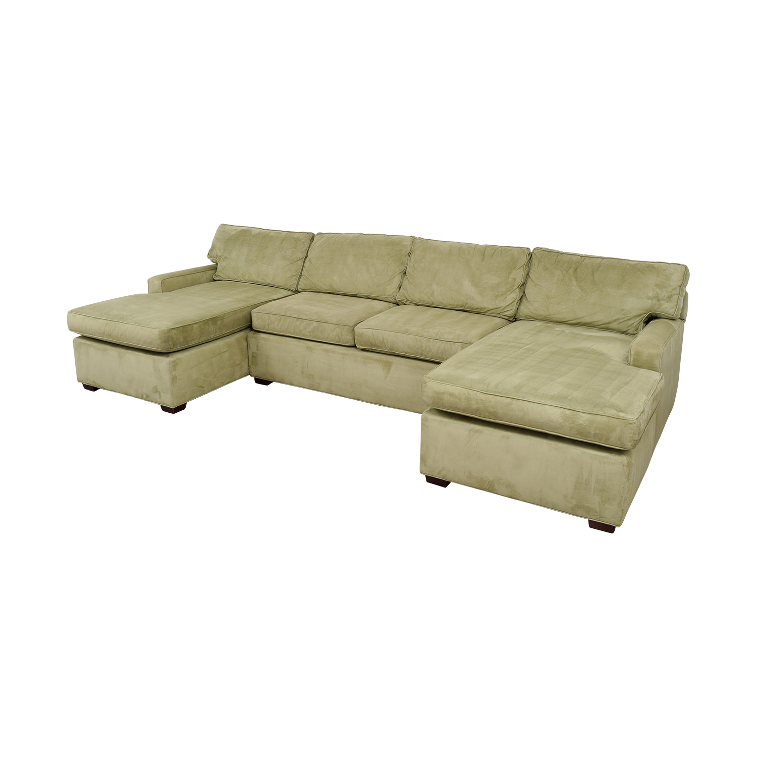 86 off pottery barn pottery barn double chaise light for Light green sectional sofa