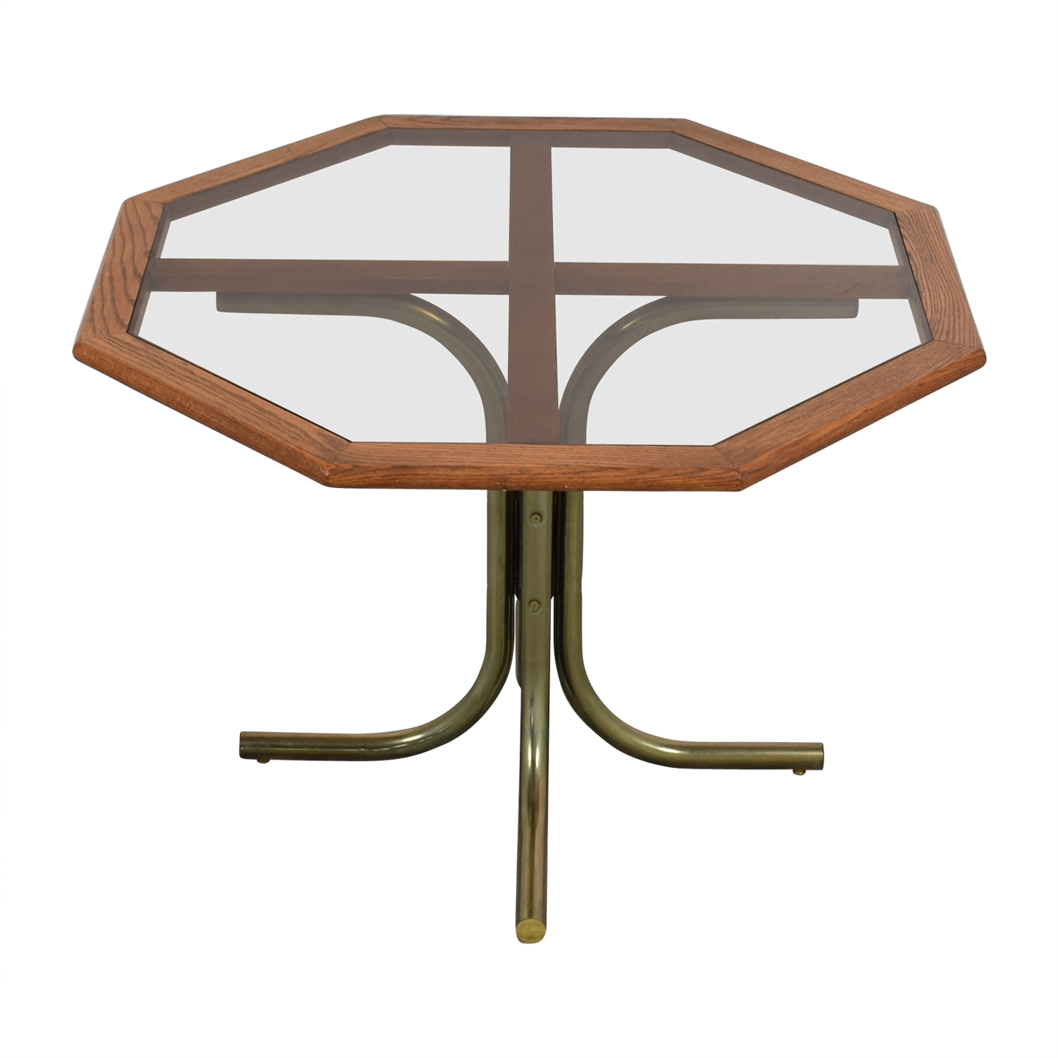 Octagon Glass Wood and Metal Dining Table coupon
