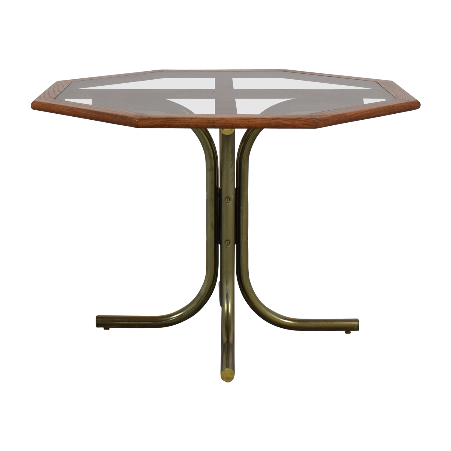 60 Off Octagon Glass Wood And Metal Dining Table Tables