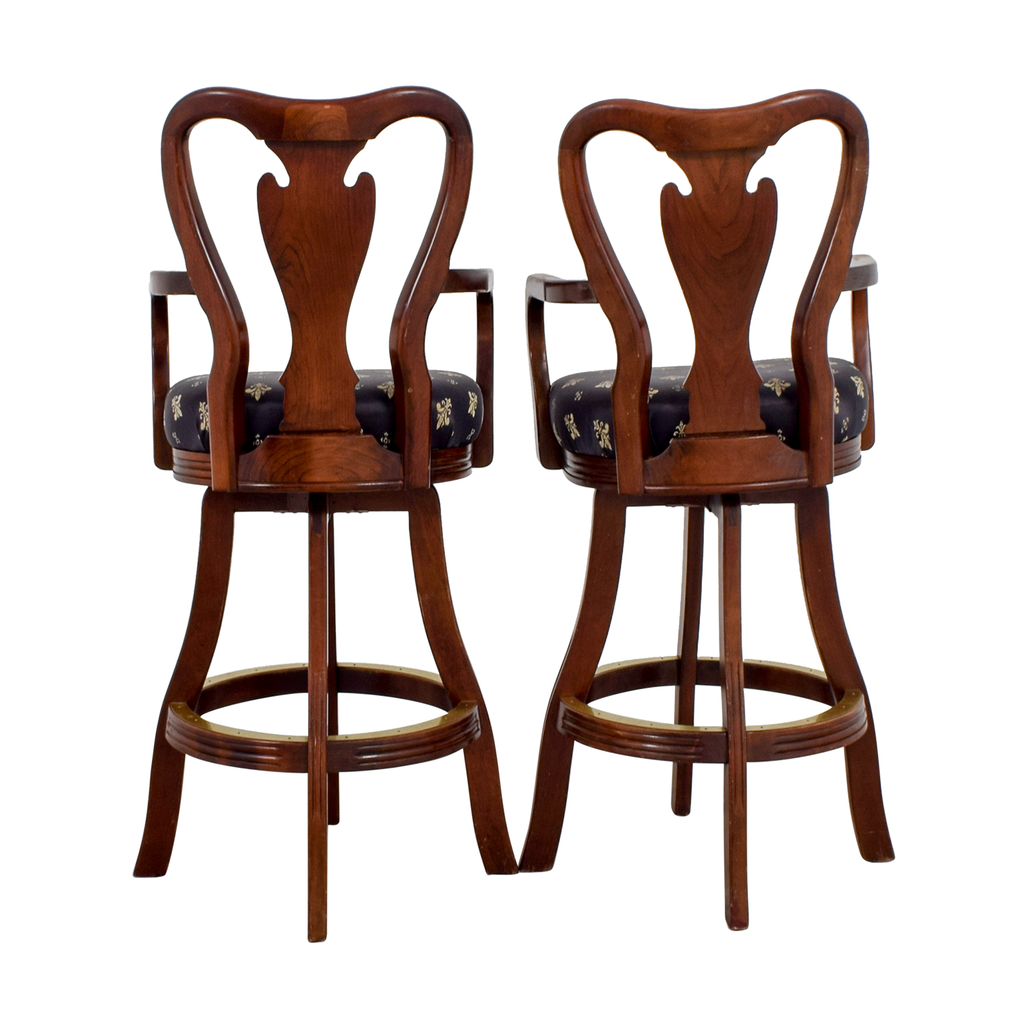 ... Black Fleur De Lis Upholstered Wood Bar Stools / Chairs ...