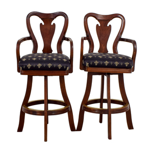 shop Black Fleur De Lis Upholstered Wood Bar Stools