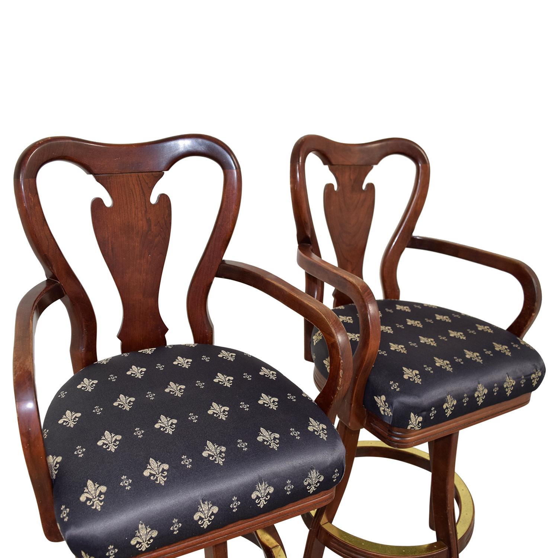 ... Chairs; Black Fleur De Lis Upholstered Wood Bar Stools Nj ...