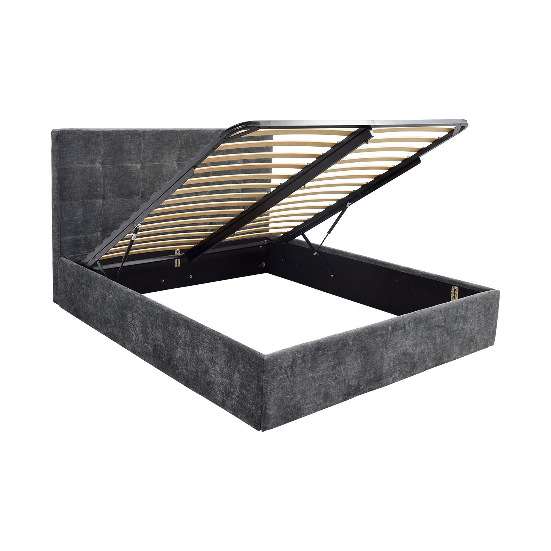 shop BoConcept Grey Tufted Velvet Corduroy King Bed Frame with Storage BoConcept Beds