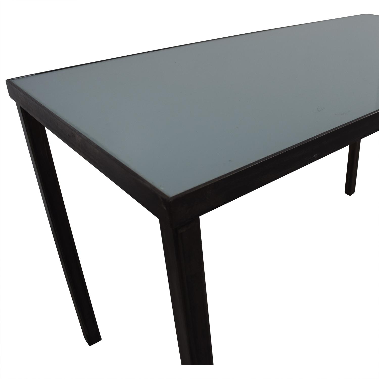 90 off west elm west elm glass top and steel base office desk tables. Black Bedroom Furniture Sets. Home Design Ideas