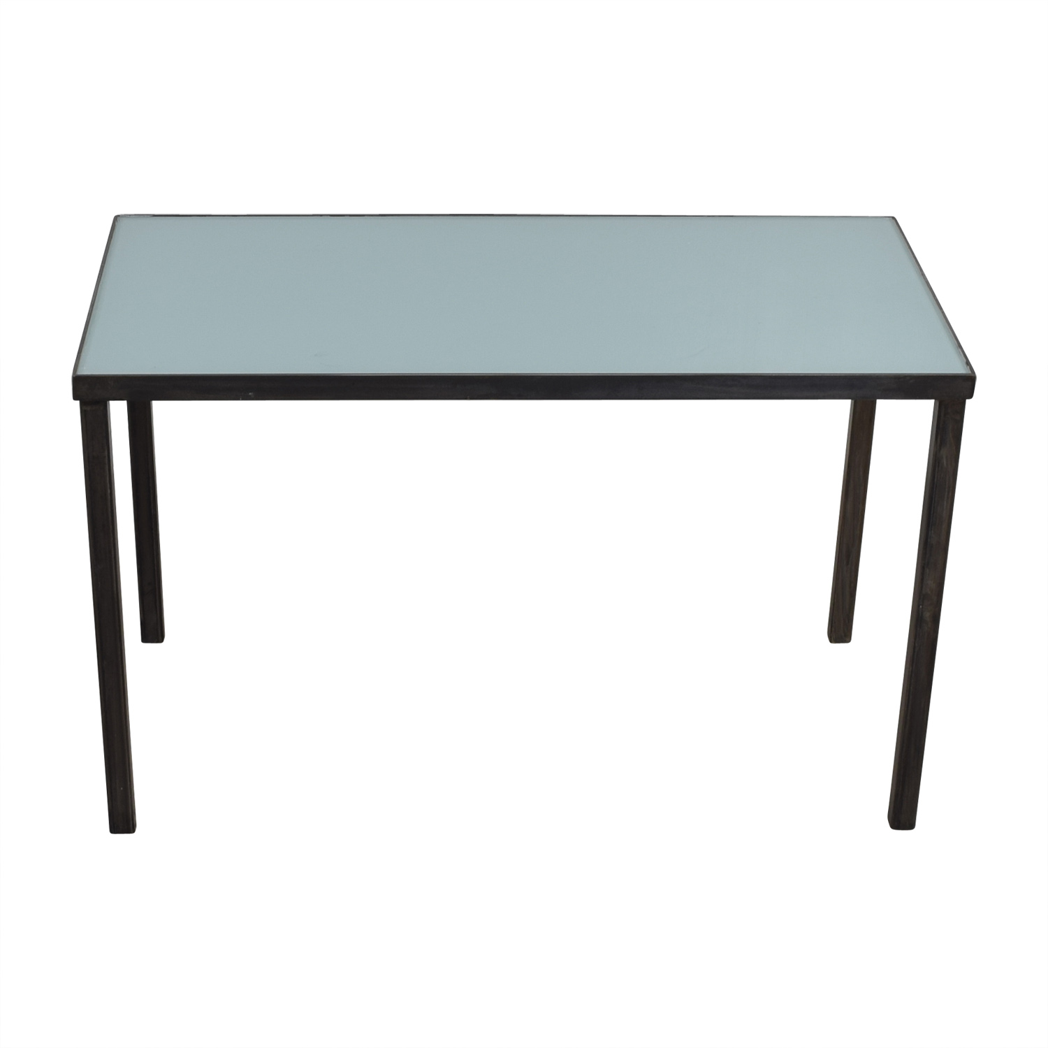 West Elm West Elm Glass Top and Steel Base Office Desk second hand