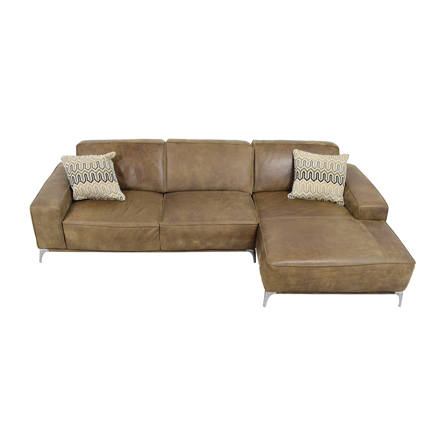 Giuseppe Nicolette Tan Leather Sectional Sofas