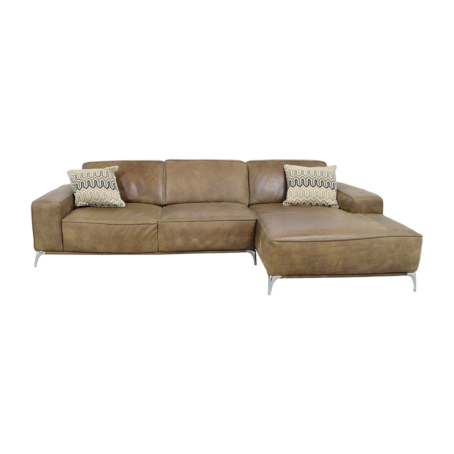 Giuseppe Nicolette Giuseppe Nicolette Tan Leather Sectional discount