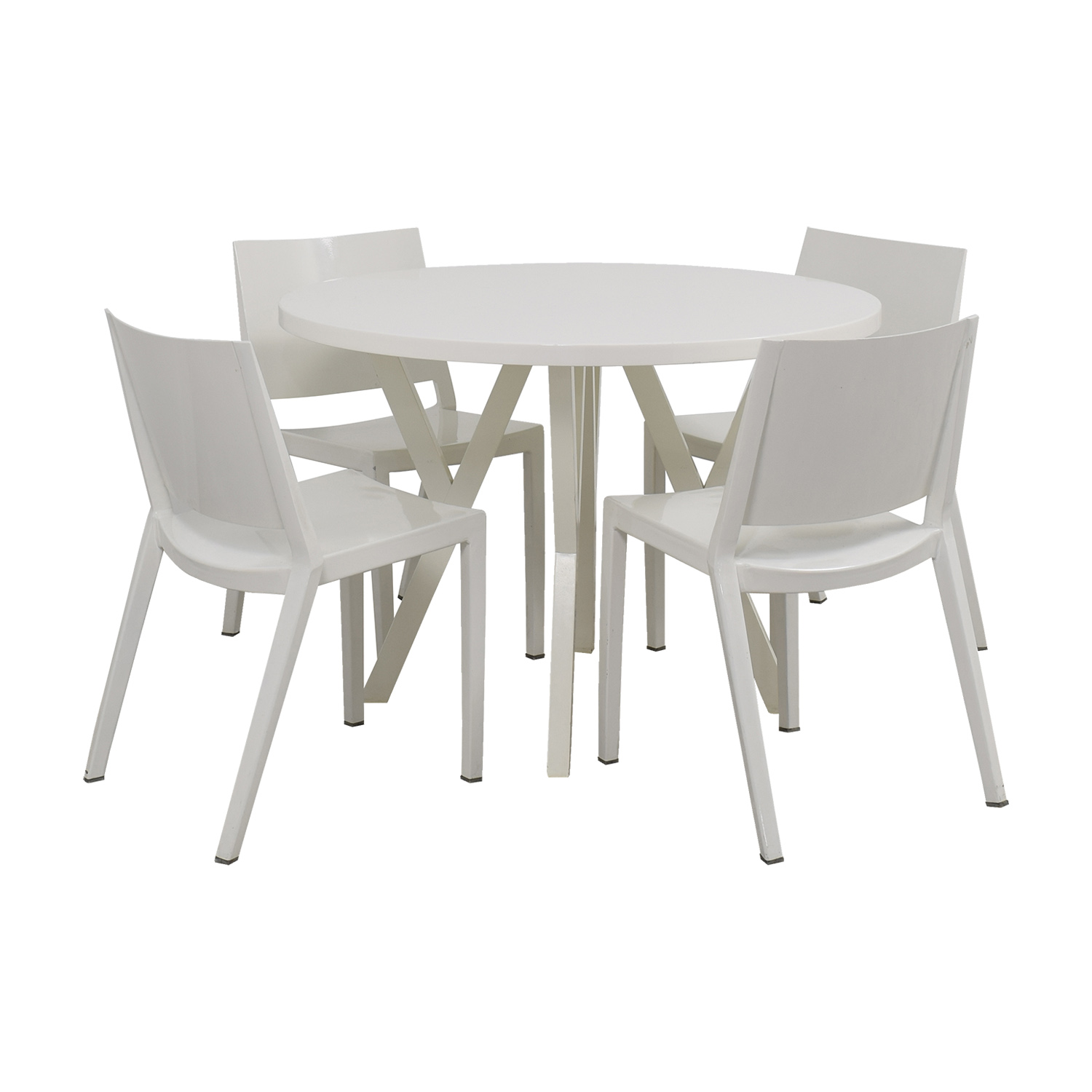 88 Off Crate Barrel Crate Barrel Round White Dining Set Tables