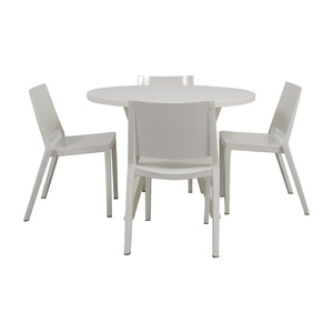 Crate & Barrel Crate & Barrel Round White Dining Set for sale