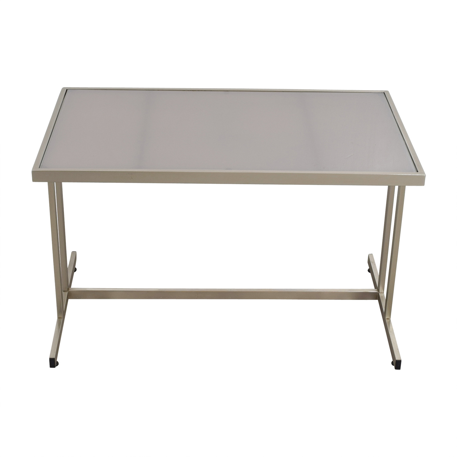 buy CB2 CB2 Brushed Metal and Glass T-Leg Table or Desk online