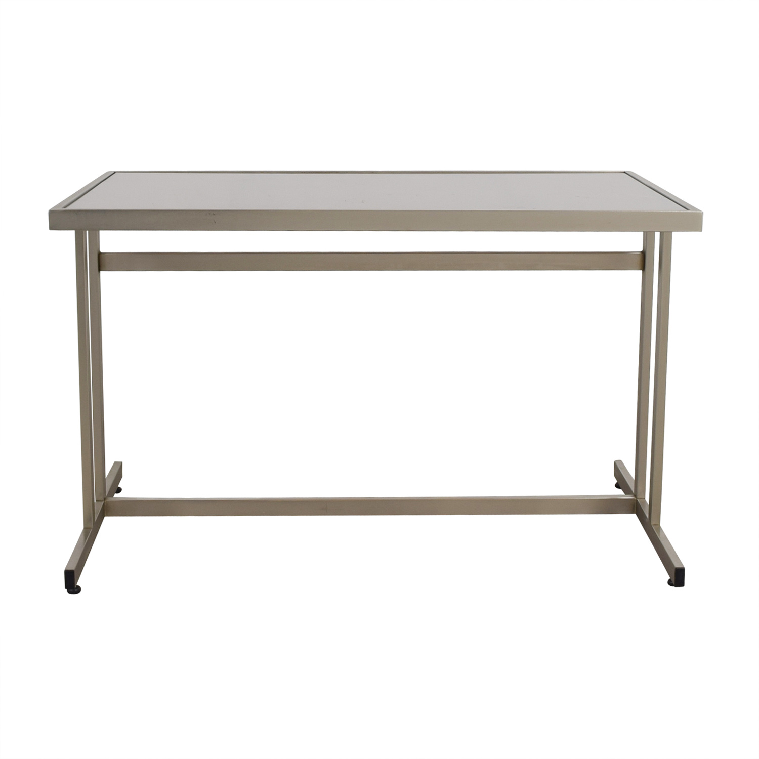 CB2 CB2 Brushed Metal and Glass T-Leg Table or Desk nj