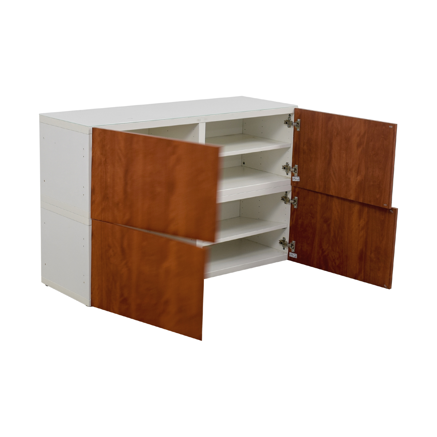 90 off ikea ikea white and wood media unit storage. Black Bedroom Furniture Sets. Home Design Ideas