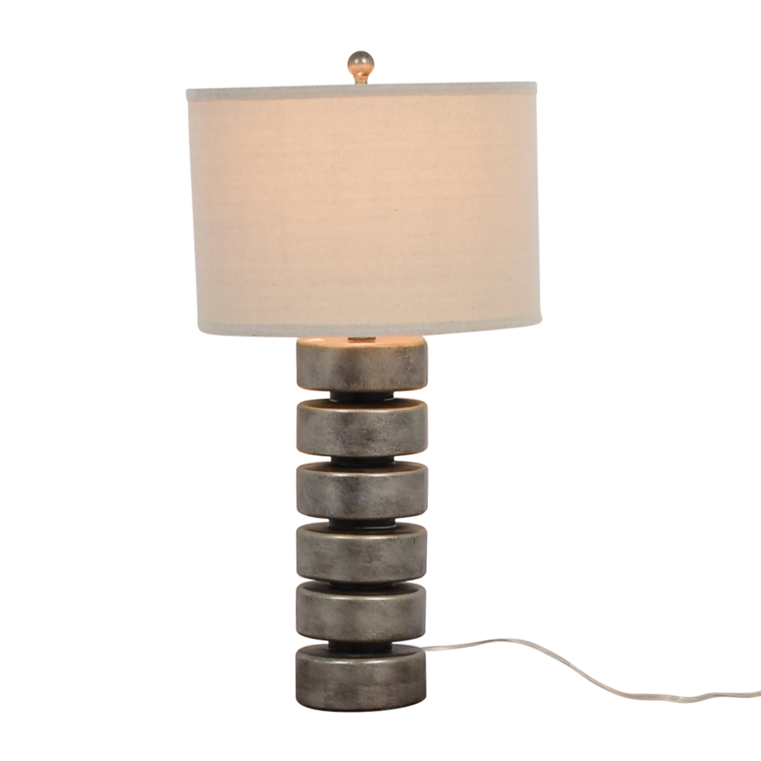 buy Silver and White Metal Table Lamp Decor