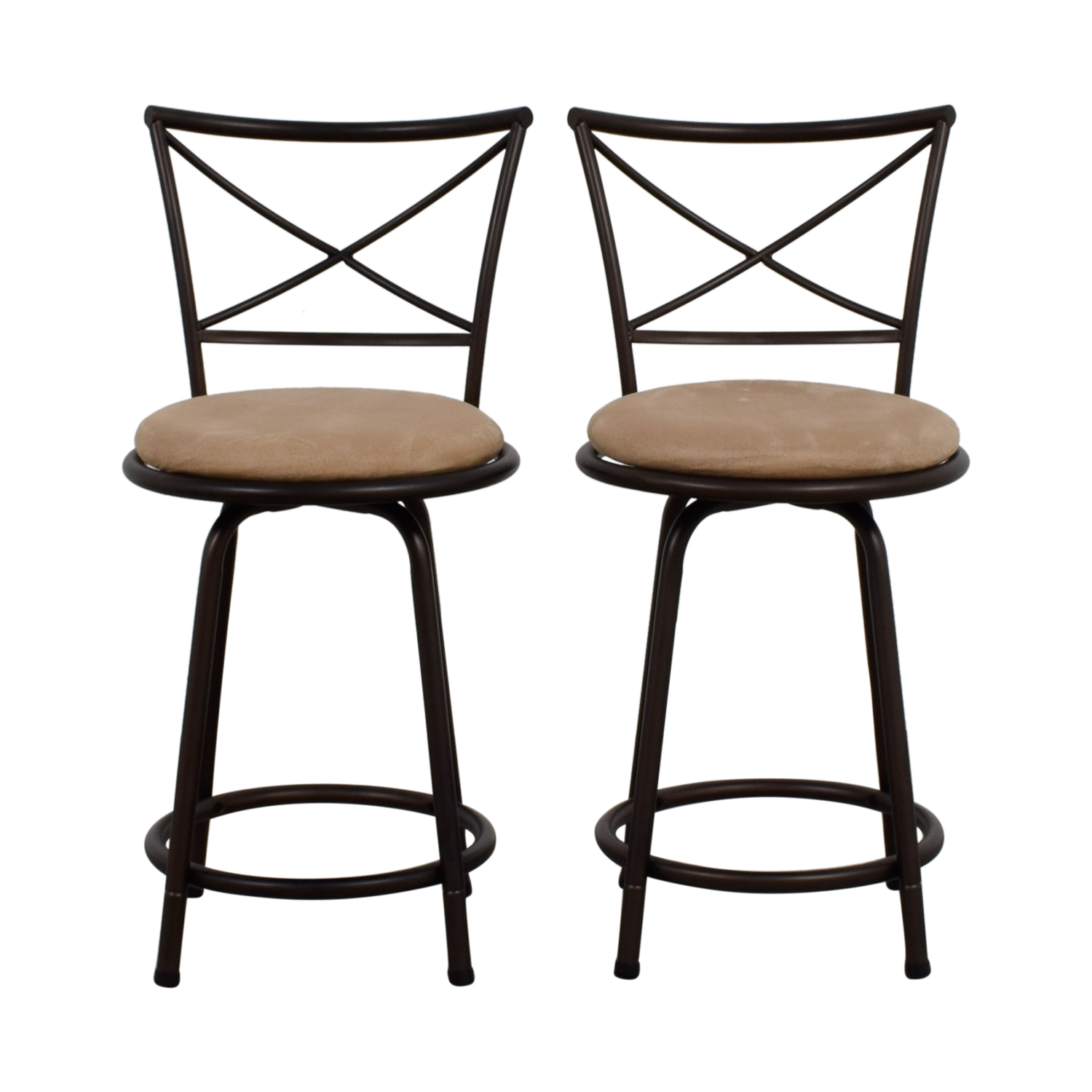 Big Lots Tan Cushioned Swivel Barstools / Chairs
