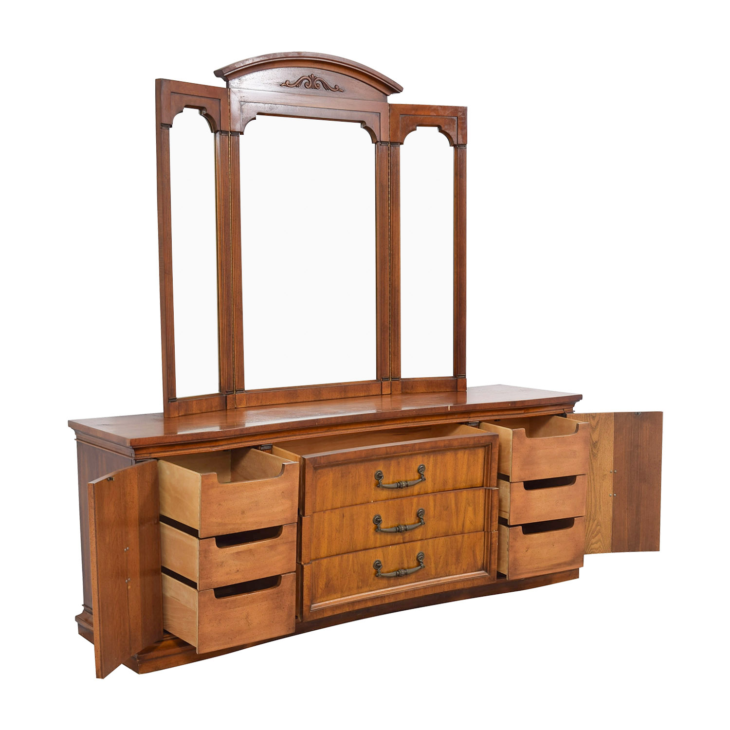 Nine Drawer Wood Dresser With Mirror Second Hand