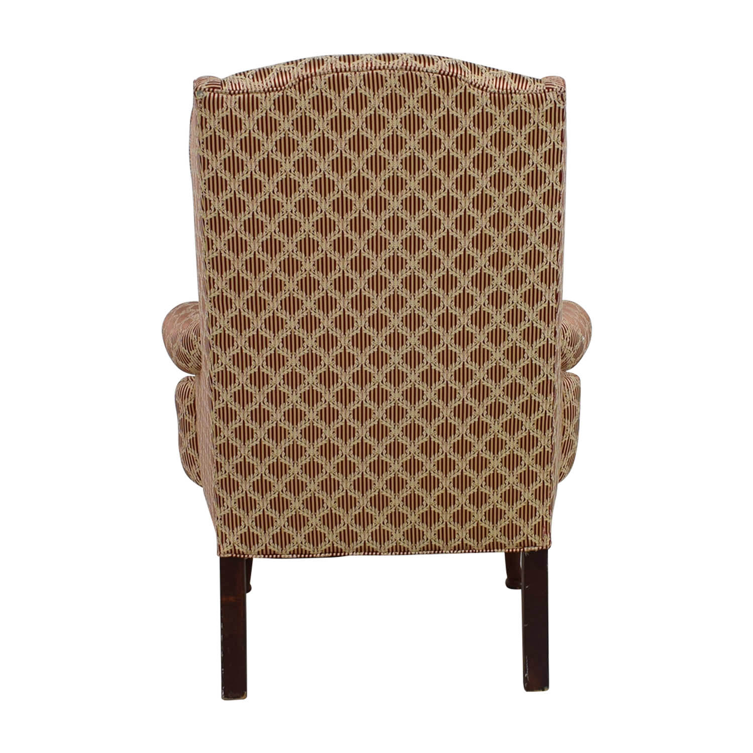 Vintage Red and Beige Wingback Accent Chair for sale