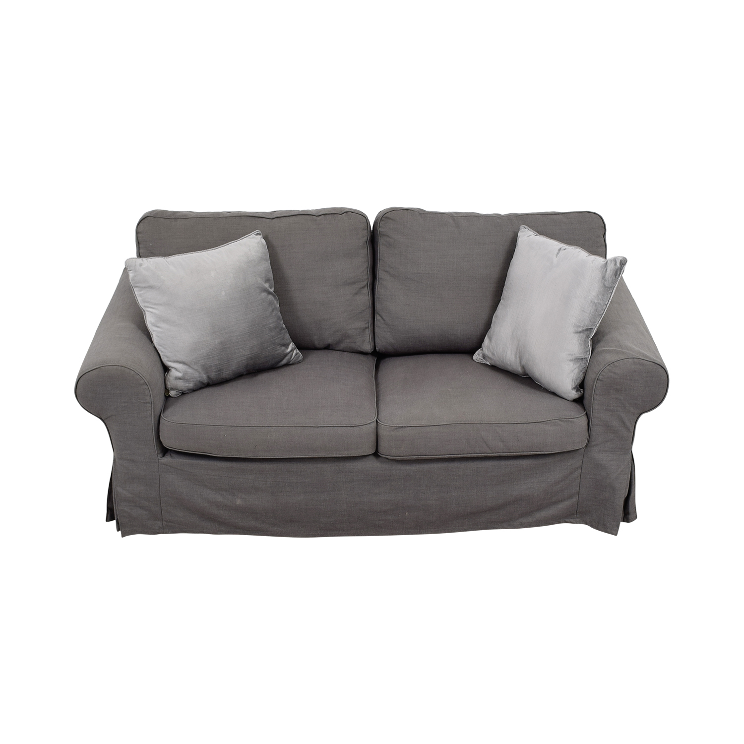 buy Grey Linen Two-Cushion Couch Sofas