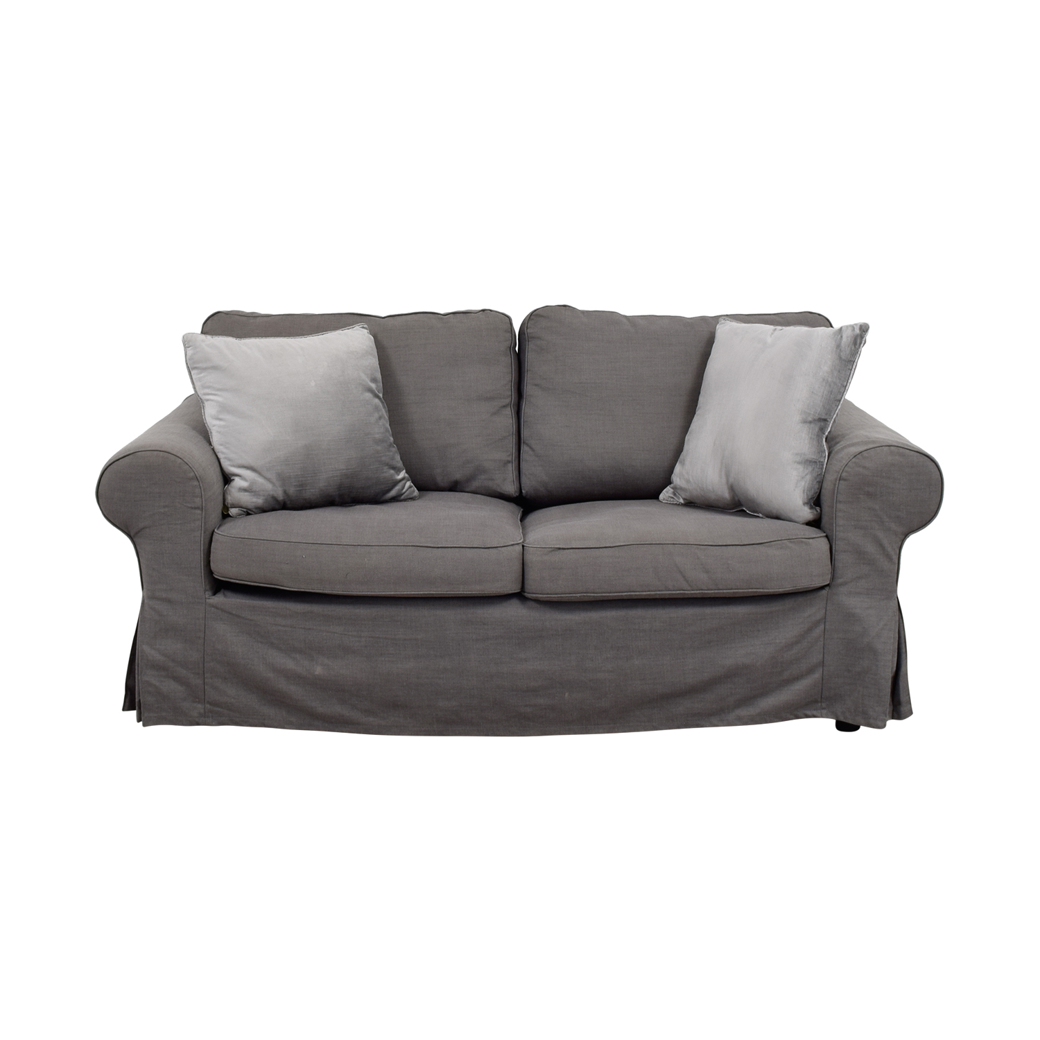 off  grey linen twocushion couch  sofas - grey linen twocushion couch gray
