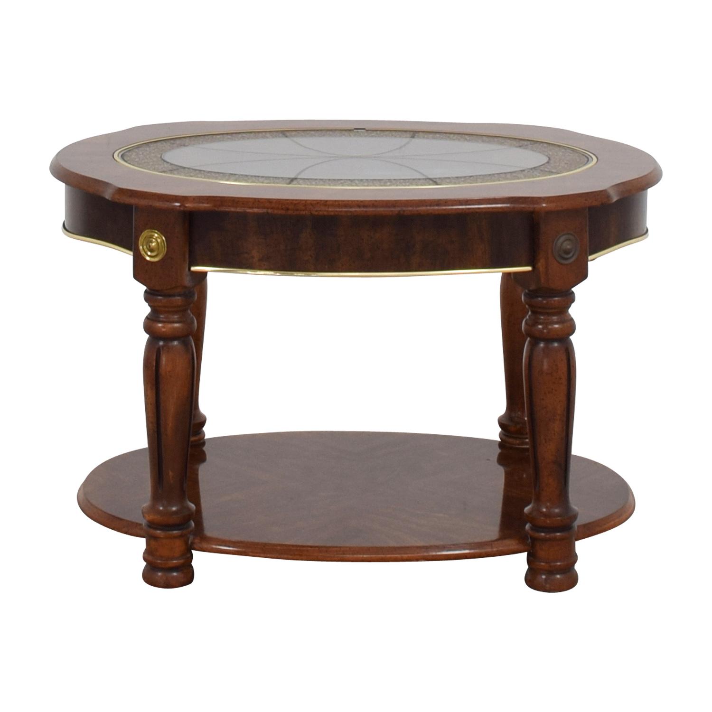 Arabescato Orobico Round Coffee Table: Vintage Small Round Coffee Table / Tables