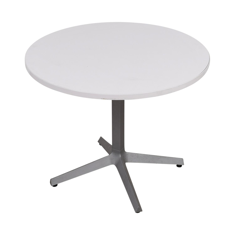 Mid Century White Round Table