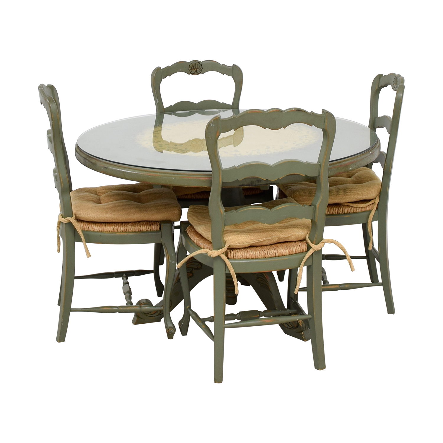 88 off hand painted country style kitchen table and for Painted kitchen chairs