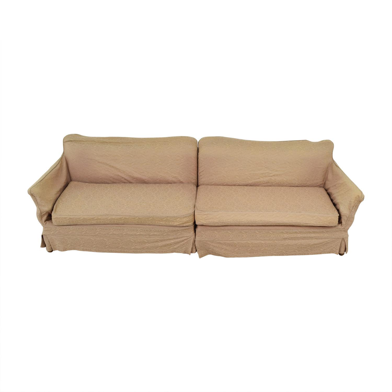 Mid Century Vintage Beige Skirted Two-Cushion Sofa sale