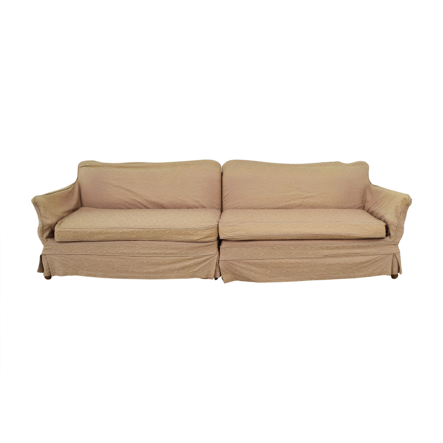 Mid Century Vintage Beige Skirted Two-Cushion Sofa sale