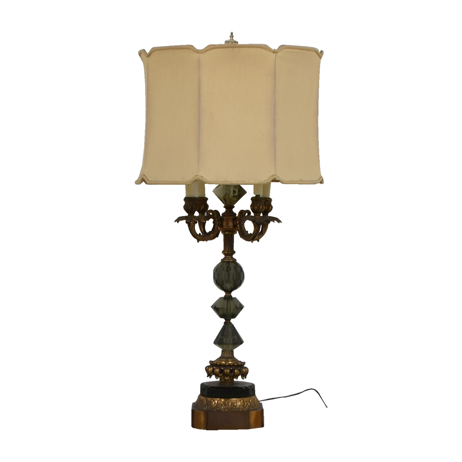 Mid Century Vintage Gold And Crystal Table Lamp on sale
