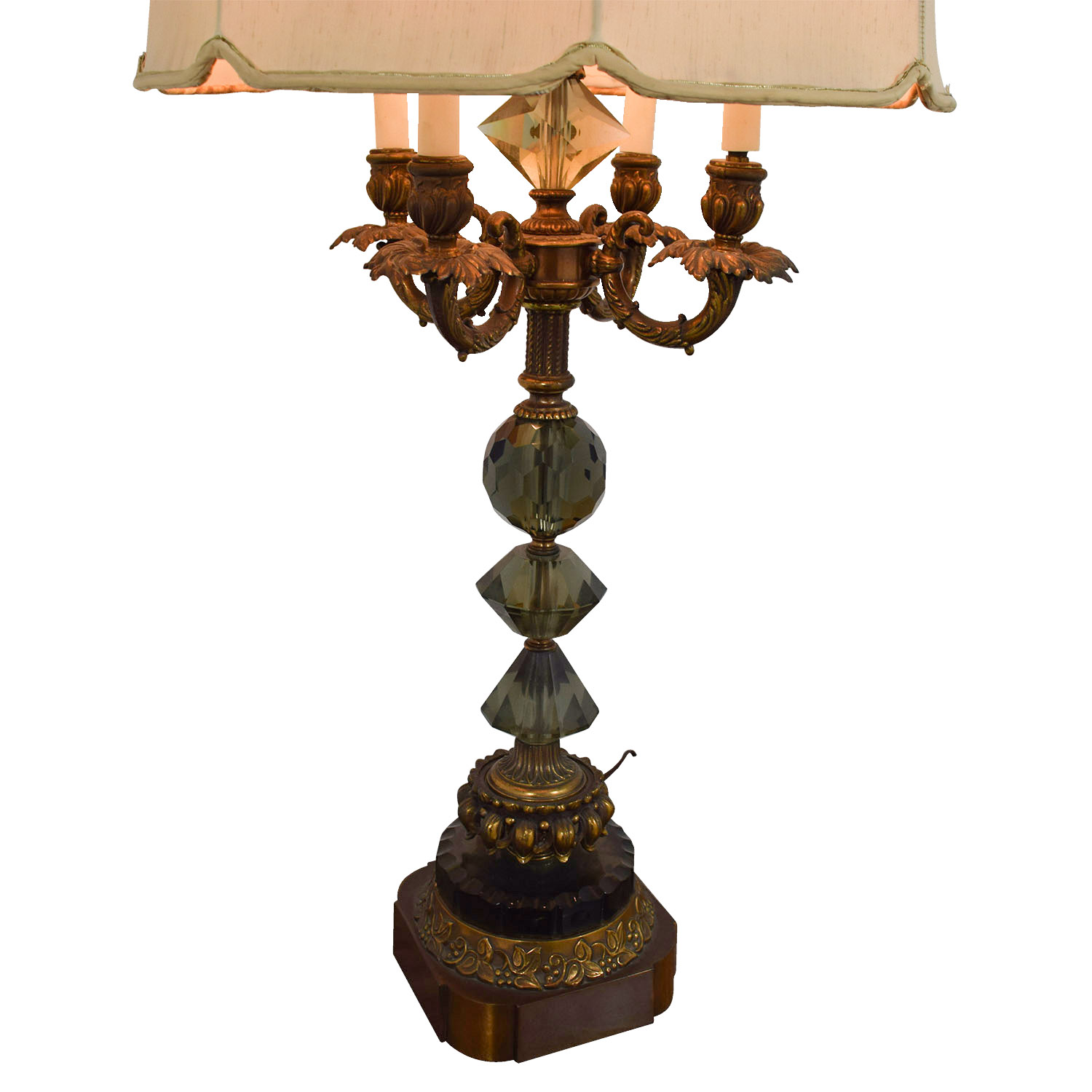 82% OFF - Mid Century Vintage Gold And Crystal Table Lamp ...