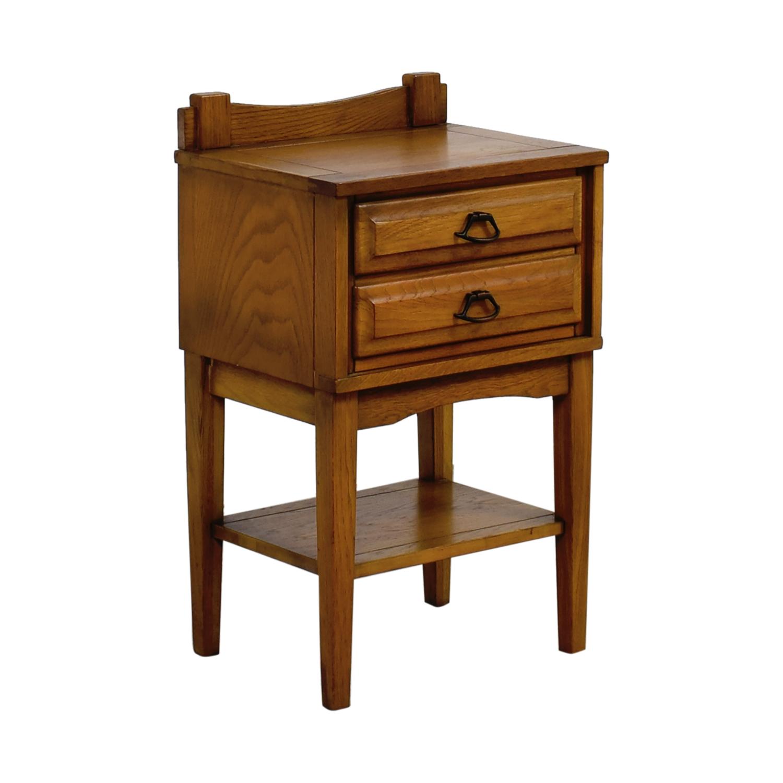 65 off mid century vintage solid oak three drawer night stand tables. Black Bedroom Furniture Sets. Home Design Ideas