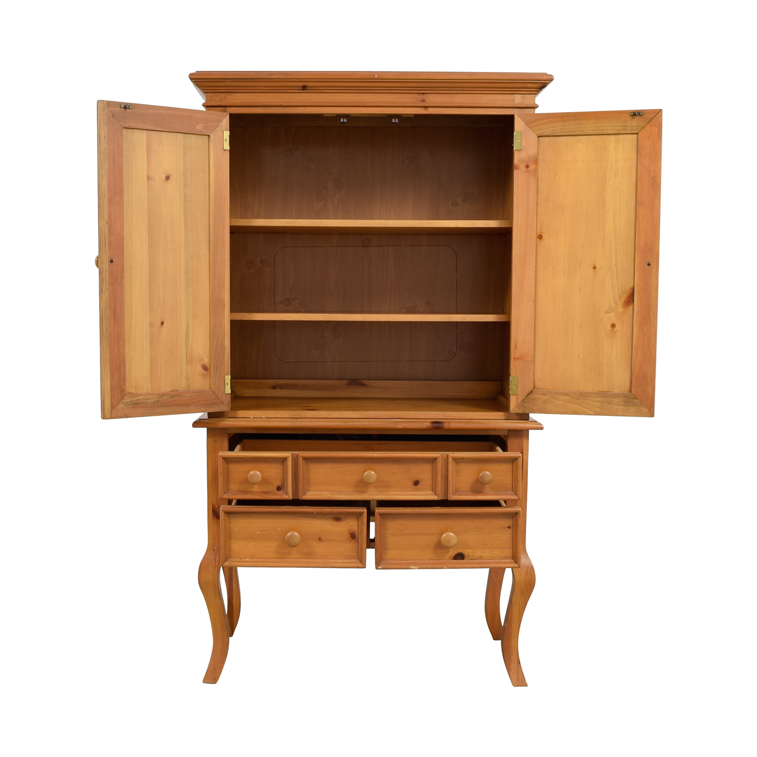 buy Broyhill Wood Armoir with Shelves and Drawers Broyhill