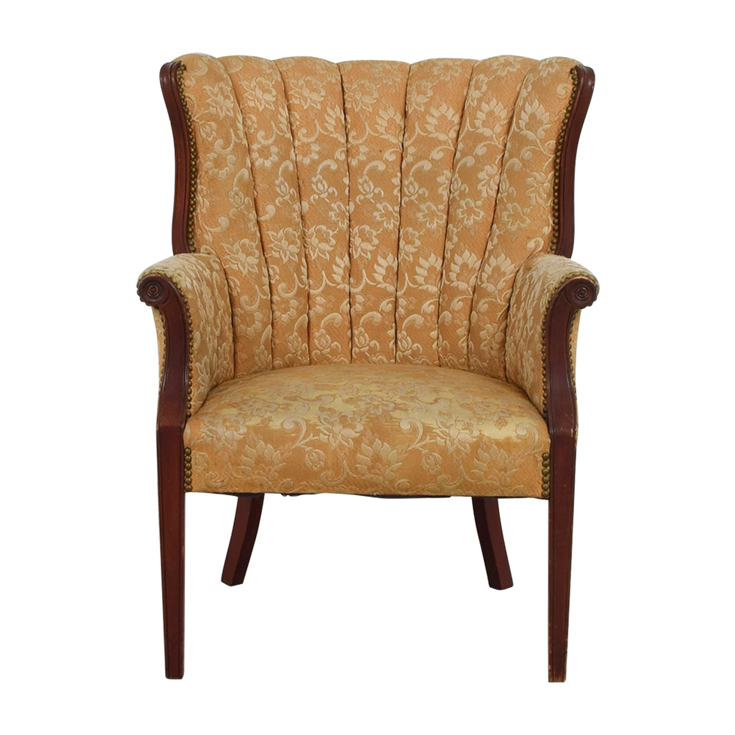 Merveilleux Antique Indigo Yellow Wingback Accent Chair Dimensions ...