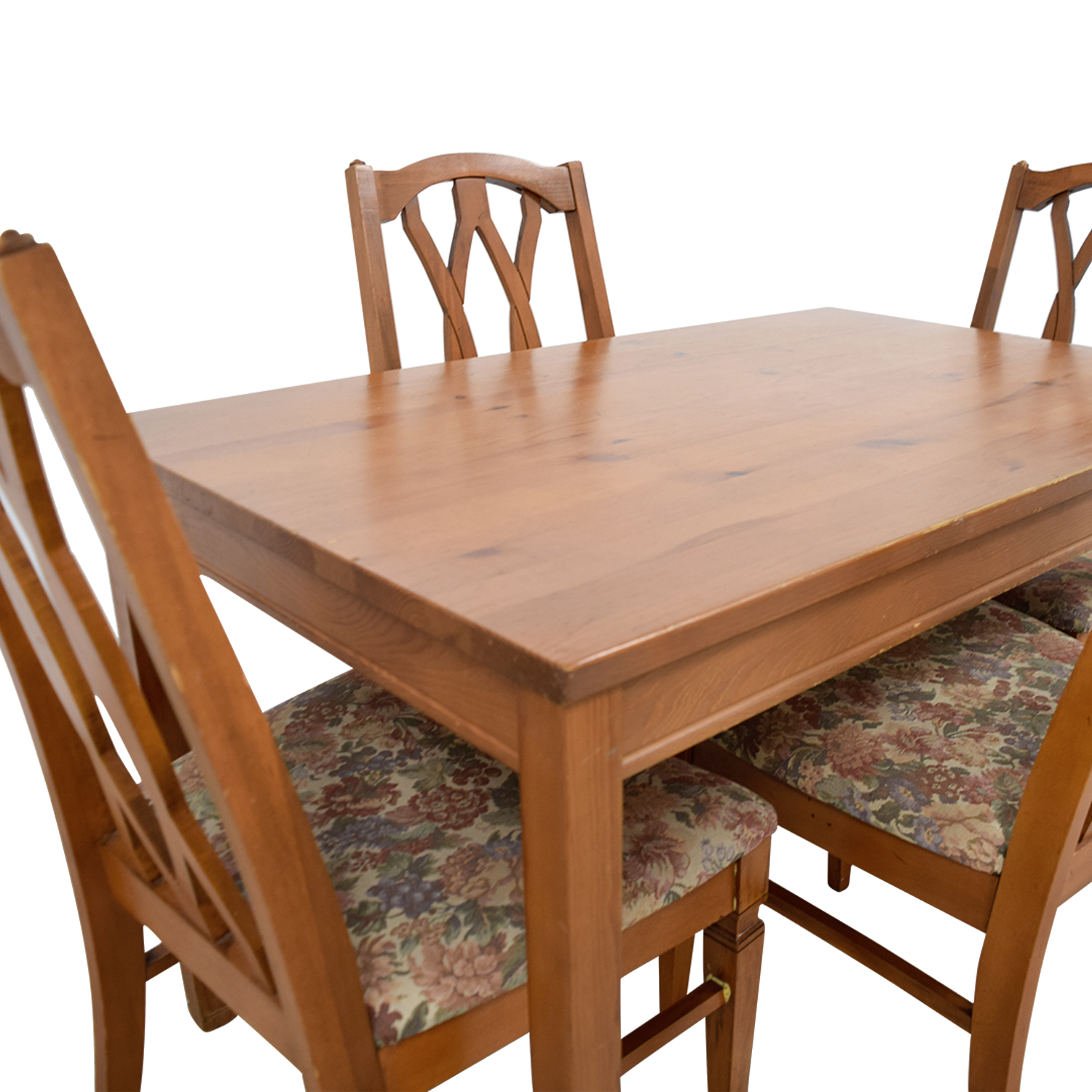 Wood Kitchen Table And Floral Upholstered Chairs