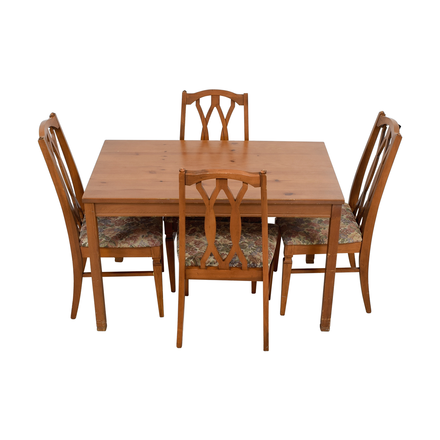 Wood kitchen table and floral upholstered chairs price